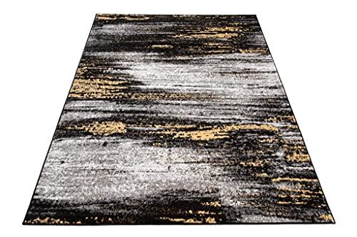 TAPISO Maya - Alfombra de salón Moderna para salón, Color Negro y Amarillo, Abstracto de Pelo Corto, 80 x 150 cm