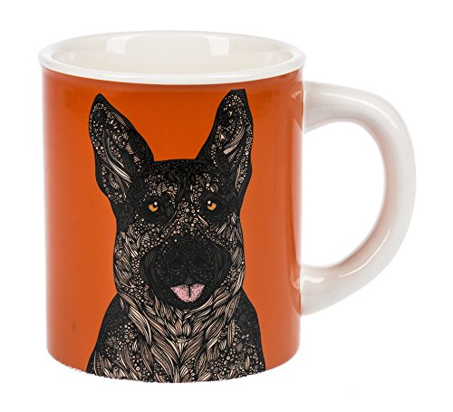 Curious German Shepherd Dog Burnt Orange Dolomite Ceramic 14 Ounce Coffee Mug