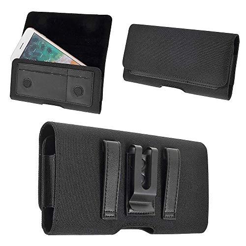 DFV mobile - Nuevo Diseño Funda Cinturón Clip Metálico Horizontal Textil y Piel con Tarjetero para Xiaomi Mi4 LTE Mi 4 LTE - Negra