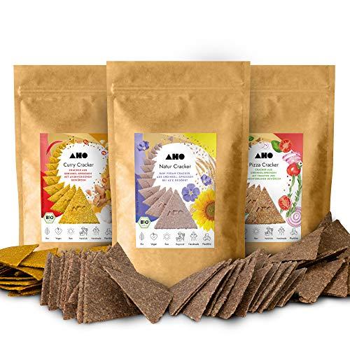 AHO Cracker Riesenpaket 1,2kg | Rohkostcracker aus gekeimtem Urgetreide aus deutschem Bio-Anbau | Superfood Sprossencracker | 100% Bio, Vegan, Raw | Plastikfrei verpackt (1200g)