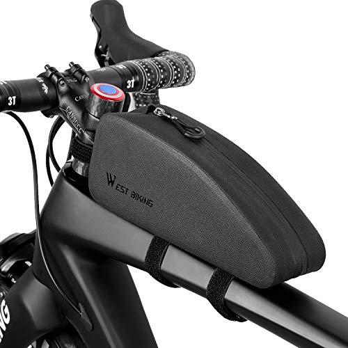 Westgirl, borsa portaoggetti per tubo superiore della bicicletta, triangolare, impermeabile, grande capacità, leggera, accessori per bici da strada, mountain bike, (nero), Uomo, Small