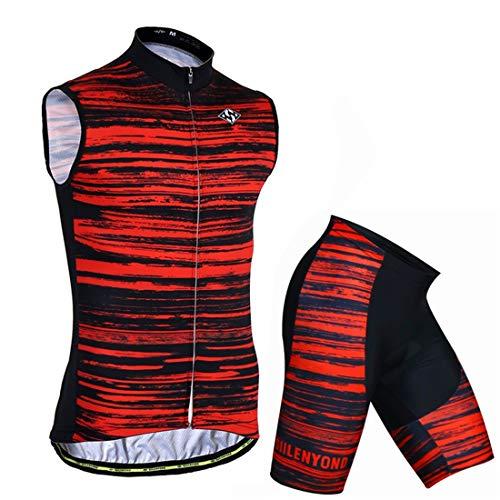 X-Labor Conjunto de ropa de ciclismo con diseño a rayas, sin mangas,...