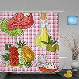 AYISTELU Cortina de Baño,Calcomanías De Filete Frescas Tomate Ajo Cebolla,Cortinas de Ducha con 12 Ganchos de plástico 180 * 180cm