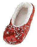 Snoozies Ballerina Bling Metallic Shine Women Slippers | Sequin House Slippers for Women | Slipper Socks with Grippers for Women | Cute Slippers for Women | Red | Medium
