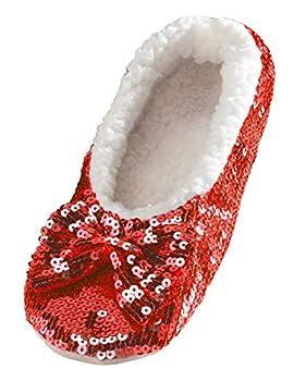 Snoozies Ballerina Bling Metallic Shine Women Slippers | Sequin House Slippers for Women | Slipper Socks with Grippers for Women | Cute Slippers for Women | Red | Small