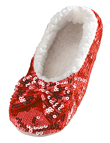 Snoozies Ballerina Bling Metallic Shine Women Slippers | Sequin House Slippers for Women | Slipper Socks with Grippers for Women | Cute Slippers for Women | Red