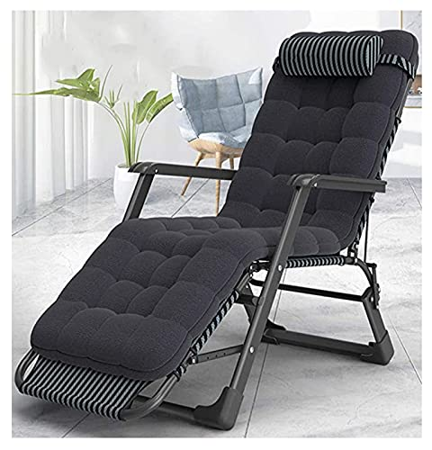 Huishoudelijke producten Ligstoel Fauteuil Stoelen Heavy Duty met kussen   Tuin Buiten Patio Lounge Ligstoelen   Opklapbare ligstoelen max. 250 kg - zwart