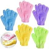 Demason 5 Paar Peeling-Handschuhe, Waschhandschuh Badehandschuhe, Scrubbing Massage Dusch Handschuhe für Hamam, Sauna, Dusche,Körperpeeling, Massage für Kinder, Frauen (Mehrfarbig)