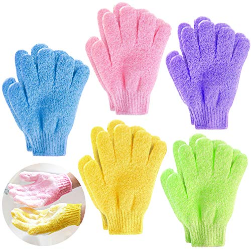 Demason 5 Paar Peeling-Handschuhe, Waschhandschuh Badehandschuhe, Scrubbing Massage Dusch Handschuhe für Hamam, Sauna, Dusche,Körperpeeling, Massage für Kinder, Frauen...