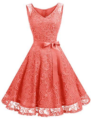 Dressystar DS0010 Brautjungfernkleid Ohne Arm Kleid Aus Spitzen Spitzenkleid Knielang Festliches Cocktailkleid Koralle L