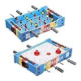 Virhuck Mini Table 2 en 1 Baby-Foot + Air Hockey 51 * 31 * 10.5 cm Jeu de Table pour Enfants Ados et Adultes Anniversaire