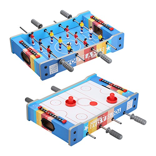 Virhuck Mini Tischplatte Tischkicker Tischbillard, Indoor & Outdoor Tisch Fußball Spiel Set für Kinder (Foosball+Air Hockey)