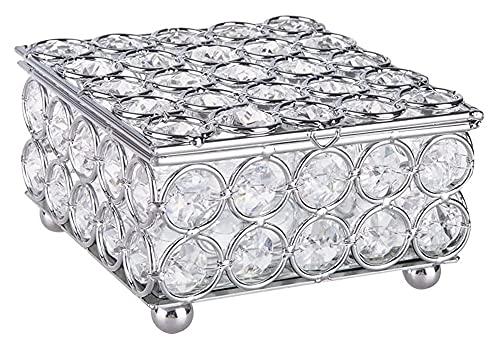 Youdert Caja Redonda de Cristal joyería Caja de Trinket Anillos Pendientes Organizador Caja de Recuerda Cofre con Superficie duplicada para vestidor Inicio Deco Valentine