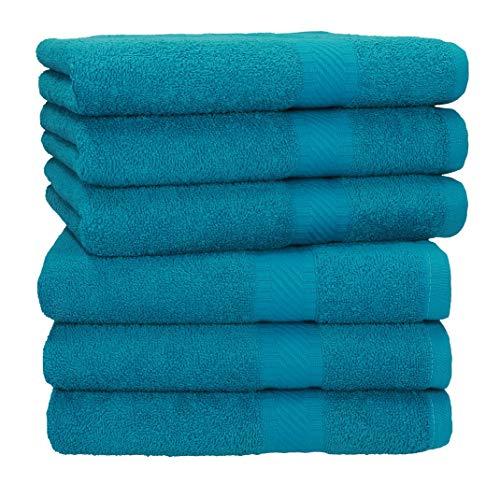 Betz 6 Stück Handtücher Palermo 100% Baumwolle Handtuch-Set Farbe Petrol