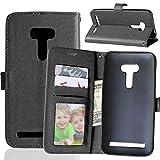 Fatcatparadise Kompatibel mit Asus ZenFone Selfie ZD551KL Hülle + Bildschirmschutz, Flip Wallet Hülle mit Kartenhalter & Magnetverschluss Halterung PU Leder Hülle handyhülle (Schwarz)