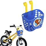 Mini-Factory Kid's Bike Basket, Cute Puppy Pattern Bicycle Handlebar Basket for Boys