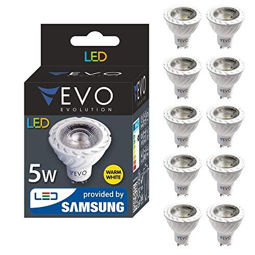 10er pack LED GU10 5W A+ Lampe, 400 Lumen, Markenqualität, SMD2835 SAMSUNG, 38 GRAD, Warmweiß 3000K