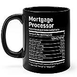 N\A Taza con procesador de hipotecas, Regalos, Taza de café de cerámica Negra de 11 oz, Taza con Datos del procesador de hipotecas