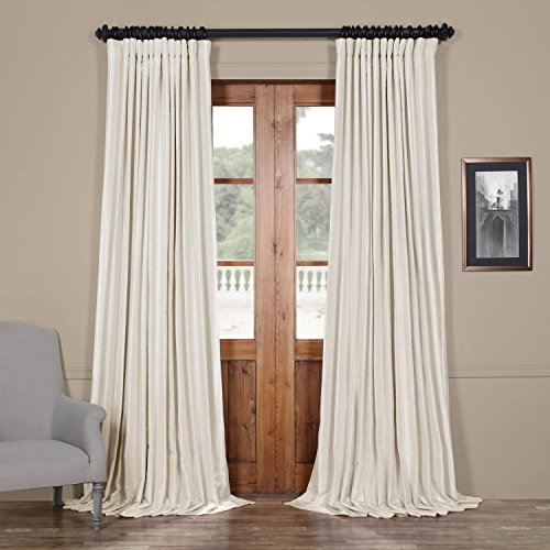 HPD Half Price Drapes PDCH-KBS2BO-108-DW Blackout Extra Wide Vintage Textured Faux Dupioni Curtain (1 Panel), 100 X 108, Off White