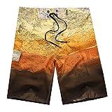 YOUJIA Shorts De Baño - Pantalones Corto De Playa para Hombre Bañadores Surf Amarillo 34