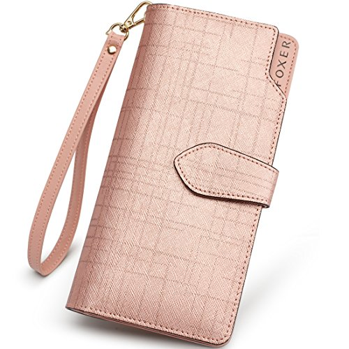 Leather Zip Around Wallet for Women, Genuine Leather Gift Box Packing Ladies Fashion Clutch Purse Credit Card Holders Women's Designer Phone Wallet with Wristlet Casual Woman Bifold Wallet (Rose Gold)