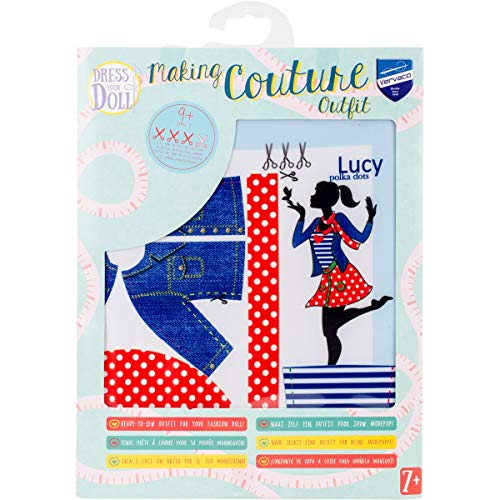 Vervaco Kit Making Couture Outfit Lucy Polka Dots,multicolore,31 x 24 x 1 cm