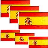 JEVX Banderas de España 3 Unidades Grandes 145x90cm + 3 Unidades Pequeñas 90x60cm para Colgar en Mastil Bandera Española con Escudo Nacional para Uso Exterior e Interior Bordes Reforzados