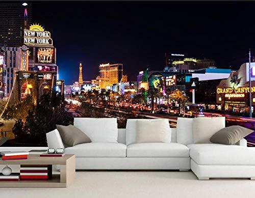 Huizers straten Las Vegas Nachtstad Fotobehang Moderne wanddecoratie, restaurant bar woonkamer bank tv muur slaapkamer 3D behang 350 * 245cm