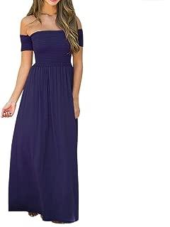KYLEON Womens Off Shoulder Solid Maxi Dress Casual Summer Loose Elegant Plain Beach Party Long Dress Tunic Sundress