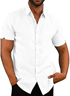 Runcati Mens Short Sleeve Shirts Button Down Tops Beach Linen Fishing Tees Spread Collar Plain Summer Blouses