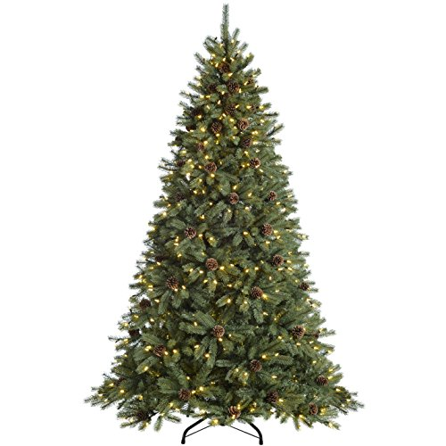 WeRChristmas Pre-Lit Crawford Pine Cone Multi-Function Christmas Tree with 400 Candle LED Lights, Green, 6 feet/1.8 m