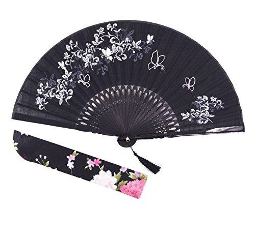 """Amajiji folding fan, 8.27""""(21cm) Women Hand Held Silk Folding Fans Bamboo Frame, Hollow Carve Patterns Bamboo Frame Women Hand Folding Fans Hand Fan Folding Fan (Black Gift Box)"""