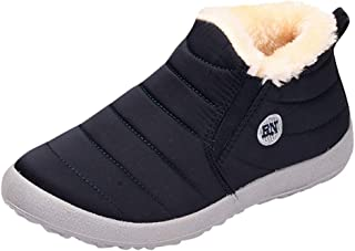 CUCAMM Booties for Women, Fashion Lady Plus Velvet Warm Outdoor Sports Shoes Waterproof Snow Cotton Boots