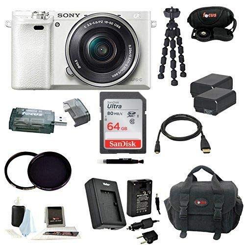 Sony a6000 Interchangeable Lens Camera w/Zoom Lens & 64GB Deluxe Accessory Bundle