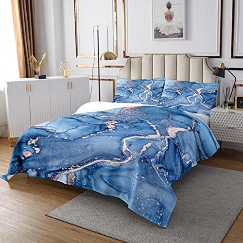 Flüssigkeit Steppdecke Blau Goldener Marmor Tagesdecke 170x210cm für Kinder Frauen Erwachsene Luxus Glitter Welle Treibsand Design Bettüberwurf Moderne Mode Wohndecke mit 1 Kissenbezug 2St