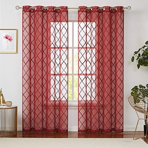 Variegatex Red Sheer Curtain Panels 95 Inches Long for Living Room, Diamond Pattern Embroidery Voile Window Treatment Drapes with Grommets for Bedroom, 54x95, Set of 2