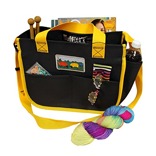 Shoulder Bag Crafters Carry-All with Sunburst Yellow Trim for knitters, spinners, cross stitchers, needlepointers, and crocheters. (7-55M). Features eleven roomy pockets.