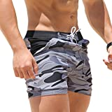 Taddlee Swimwear Men Basic Long Swimming Trunk Surf Camo Shorts Swimsuits Pocket Gray Large