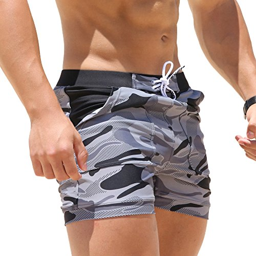 Taddlee Swimwear Men Basic Long Swimming Trunk Surf Camo Shorts Swimsuits Pocket Gray Medium