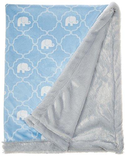 Hudson Baby Unisex Baby Plush Blanket with Furry Binding and Back Elephant One Size