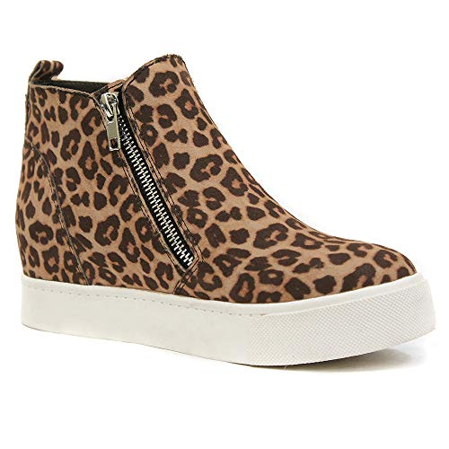 Athlefit Women's Hidden Wedge Sneakers High Top Casual Shoes Booties Size 10 Leopard