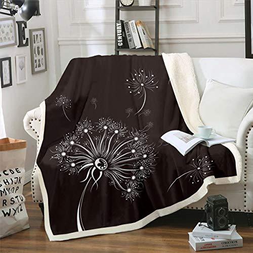 Loussiesd Manta de felpa con diseño de diente de león para niñas, de forro polar botánico, para sofá, sofá, bohemio, flores, decoración de sherpa, manta marrón y blanco, manta para bebé de 76 x 101 cm