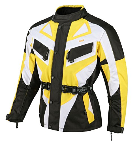 Bangla 1535 Kinder Motorrad Jacke Textilmaterial Cordura600 Schwarz-Gelb-Weiss 128