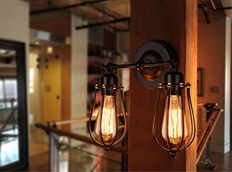 Wandleuchte Double Head Single Head Wandleuchten, American Antique Eisen Kunst Wand Spot Licht, Restaurant Stair Flur LED Wandleuchte (Capacity   220V-B)