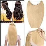 Elailite Hilo Invisible Pelo Humano Extensiones Cabello Naturel [Un Hilo - Una Banda] - 20'(50cm)-70g #24 Rubio Natural 100% Human Hair
