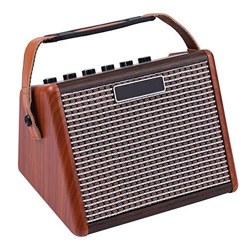 ZXCV 15W Portatile Chitarra Acustica Amplificatore Amp BT Speaker Built-in Batteria Ricaricabile con Microfono interfaccia,Marrone