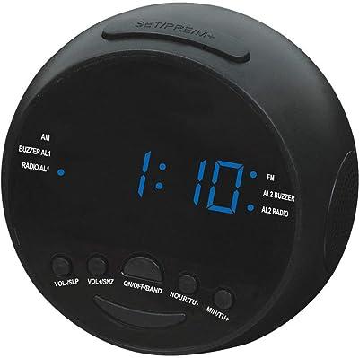 Kaxima Despertador Digital Am y FM Canales Radio Reloj Despertador LED con 2 Sets de Despertador