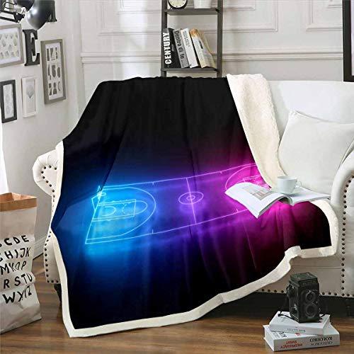 Homemissing Manta de forro polar polar para cama sofá 3D, diseño de cancha de baloncesto, manta de felpa, decoración ultra suave, cálida y difusa, color negro, 30 x 40 pulgadas