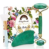 Cheftick Jade Roller for Face, Gua Sha and Facial Mask Brush 3-in-1 Gift