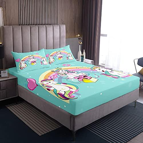 Juego de Cama de Unicornio de Dibujos Animados Colorido Arco Iris Ajustable para niñas niños Adolescentes Juego de sábanas de Animales mágicos Donuts Sweet Candy Bed Cover Teal tamaño Individual